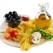 Italian cuisine - pasta and olive oil - Stock Photo