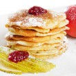 Stock Photo: Pancakes powdered with sugar