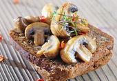 Grilled mushrooms on healthy bread — Stock Photo