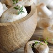Stock Photo: Champignons on wooden table