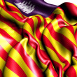 Balearic Islands Flag, Spain. - Stock Photo