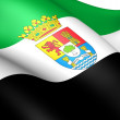 Flag of Extremadura, Spain. - Stock Photo