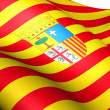 Flag of Aragon, Spain. - Stock Photo