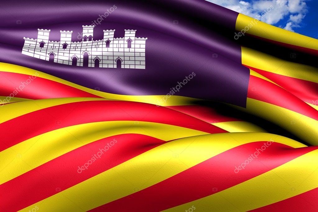 Balearic Islands Flag, Spain. Close Up. — Stock Photo #9119870