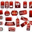 Set of price red tags — Stock Vector