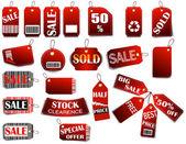 Conjunto de etiquetas de precios rojo — Vector de stock