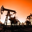 Working oil pumps silhouette - Stock Photo