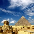 Stock Photo: Egypt Cheops pyramid and sphinx