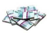 Million rubles - heap of bills in packs — Stock Photo