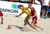 Beach soccer game between Ukraine and Russia — Stock Photo