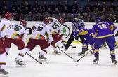 Ice-hockey game Ukraine vs Lithuania — Stock Photo