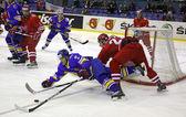 Hockey su ghiaccio gioco Ucraina vs Polonia — Foto Stock