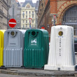 Five recycle bins for waste segregation — Stock Photo