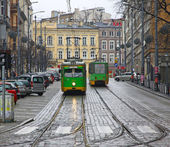 Vintage trams on a street of Poznan — Stock Photo