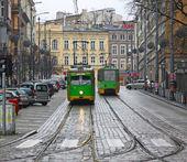 Vintage trams on a street of Poznan — Stock Photo