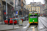 Vintage tram on a street of Poznan — Stock Photo