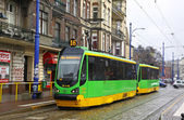 Tram on a street of Poznan — Stock Photo