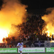 Stock Photo: Dynamo Kyiv ultras (ultrsupporters) burn flares