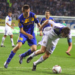 Artem Milevsky of Dynamo Kyiv (R) and Artyom Radkov of Bate — Stock Photo