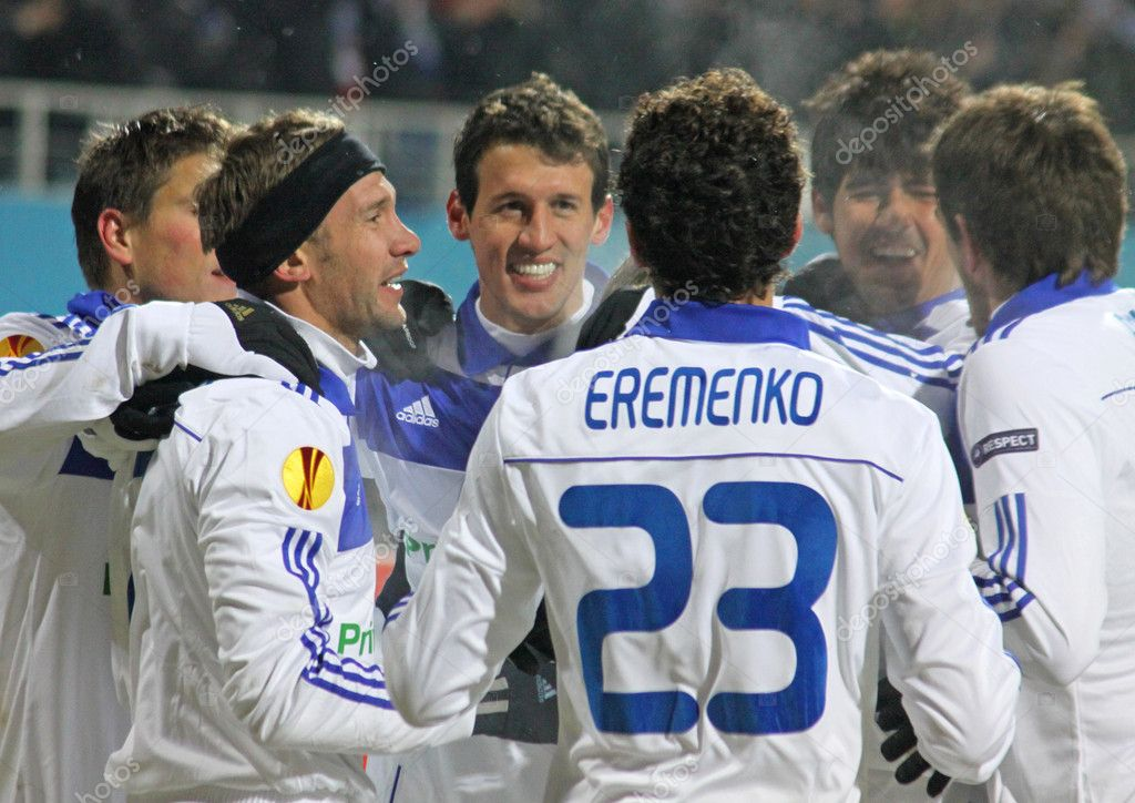 KYIV, UKRAINE - FEBRUARY 24: FC Dynamo Kiev players celebrate after scored a goal against Besiktas during their UEFA Europa League game on February 24, 2011 in Kyiv, Ukraine  Stock Photo #10346703