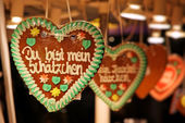 Traditional German handmade gingerbread heart — Stock Photo