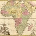 gammal karta över Afrika — Stockfoto