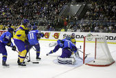冰球。乌克兰 vs 哈萨克斯坦 — 图库照片
