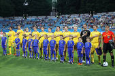 Ukraine National football team players sing the hymn — Stock Photo