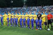 Ukraine National football team players sing the hymn — Stock Photo