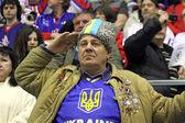Ukrainian ice-hockey fans — Stock Photo