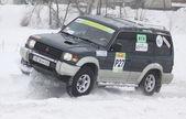 Ukraine Racing Team's crew rides over snow track — Stock Photo