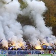 Stock Photo: FC Dynamo Kiev team ultrsupporters burn flares