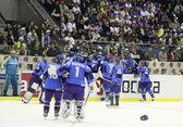 Ice-Hockey game between Ukraine and Kazakhstan — Stock Photo