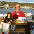 Street organ performer on Charles Bridge. Prague - Foto de Stock