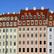 Colourful buildings at Neumarkt square in Dresden - Stock Photo