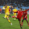 Andriy Shevchenko of Ukraine and Dejan Jakovic of Canada - Stock Photo