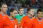 Maxym Koval of Dynamo Kyiv and referees — Stock Photo
