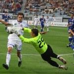 Постер, плакат: Denys Garmash of Dynamo Kyiv L fights for a ball with Bojan Jo