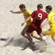 Beach soccer game between Ukraine and Russia - Stock Photo