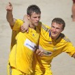 Stock Photo: Beach soccer game between Ukraine and Russia