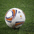 Close-up soccer ball on the grass — Stock Photo #9813261