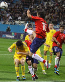 Players of Ukraine and Chile fight for the ball — Stock Photo