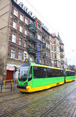 Modern tram on a street of Poznan — Stock Photo