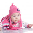 Baby hat with pigtails — Stock Photo
