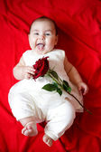 Cute girl with red rose — Stock Photo