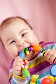 Baby are gnawing a toy — Stock Photo