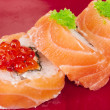 Japanese sushi traditional japanese food.Roll made of salmon, re - Stock Photo