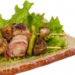 Royalty-Free Stock Photo: Bacon wrapped grilled Scallops with mushrooms and bacon