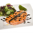 Savory fish portion : roasted norwegian salmon fillet garnished — Stok fotoğraf
