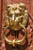 Lionhead knocker found on a door of a classical mansion in Budap — Foto de Stock